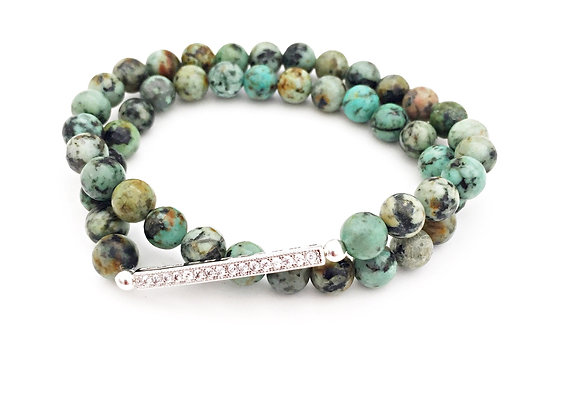 African Turquoise Double Wrapped Bar