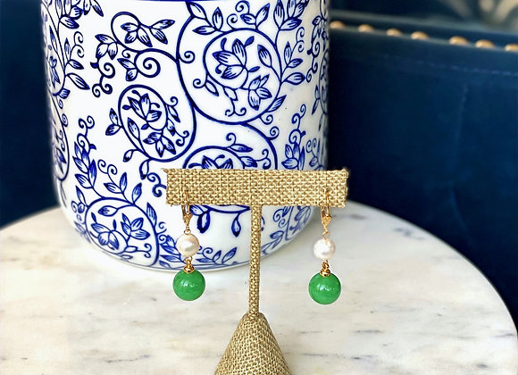 Malaysian Jade Pearl Earrings