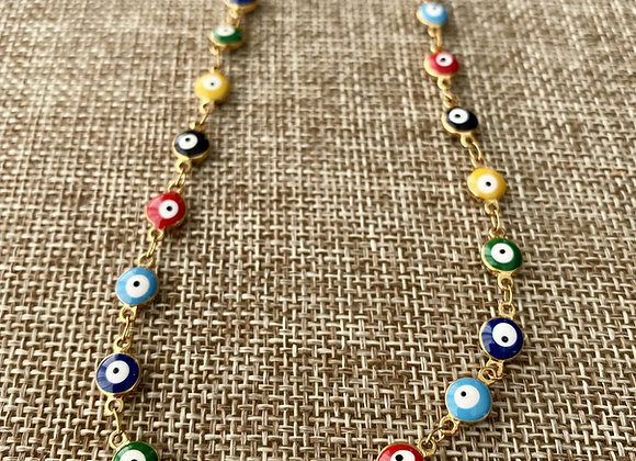 Evil Eye Rainbow Necklace