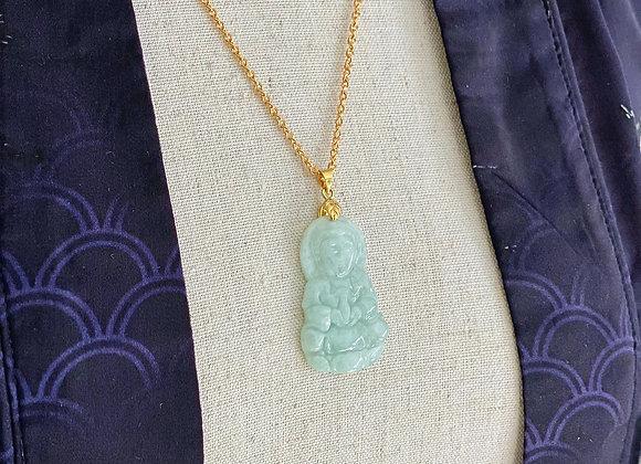 Meditating Quan Yin Jade Necklace