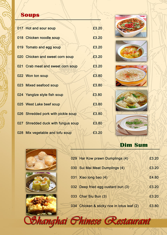 Menu English Restaurant