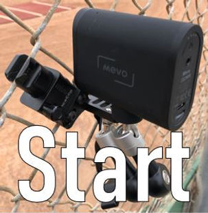 mevo start and fenceclip mini filming baseball