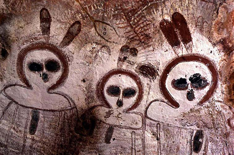 Ancient rock painting of Gods?