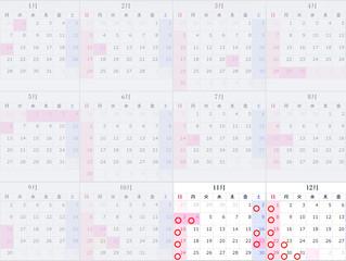 休診日カレンダー(2019年11月-2020年12月)