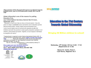 Invitation and program to the upcoming WFWPI Vienna UN Forum on Education Oct 2014