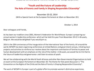 Annual Women's Leadership conference in Brussels, invitation
