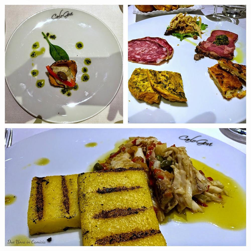 un classico antipasto mantovano e uno squisito luccio in salsa Mantovana con polenta abbrustolita.