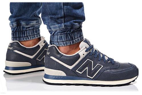 New balance 574 синие кожаные