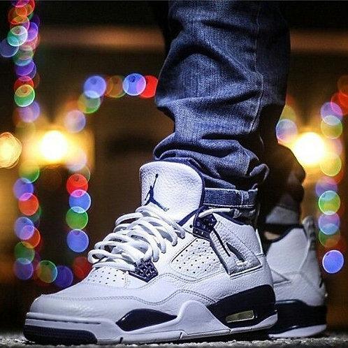 Nike air Jordan 4 бело-синие