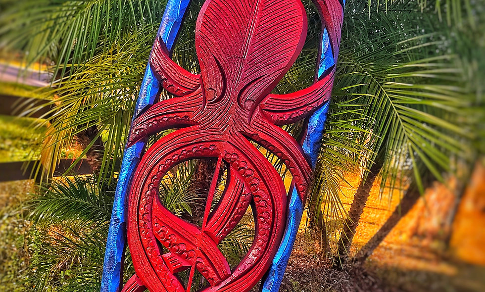 """CRIMSON OCTO"" reclaimed surfboard carving"