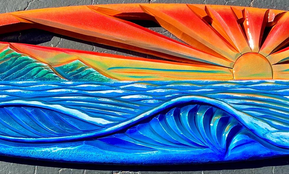 """BIG ISLAND"" reclaimed surfboard carving"