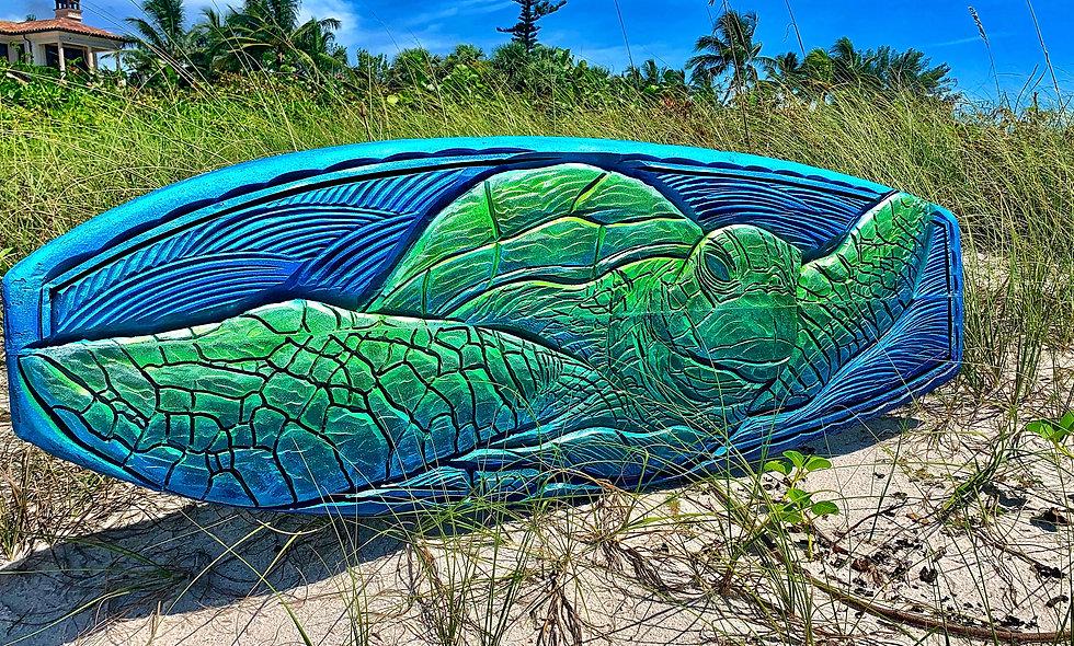 """Caribbean Cruiser"" reclaimed surfboard carving"