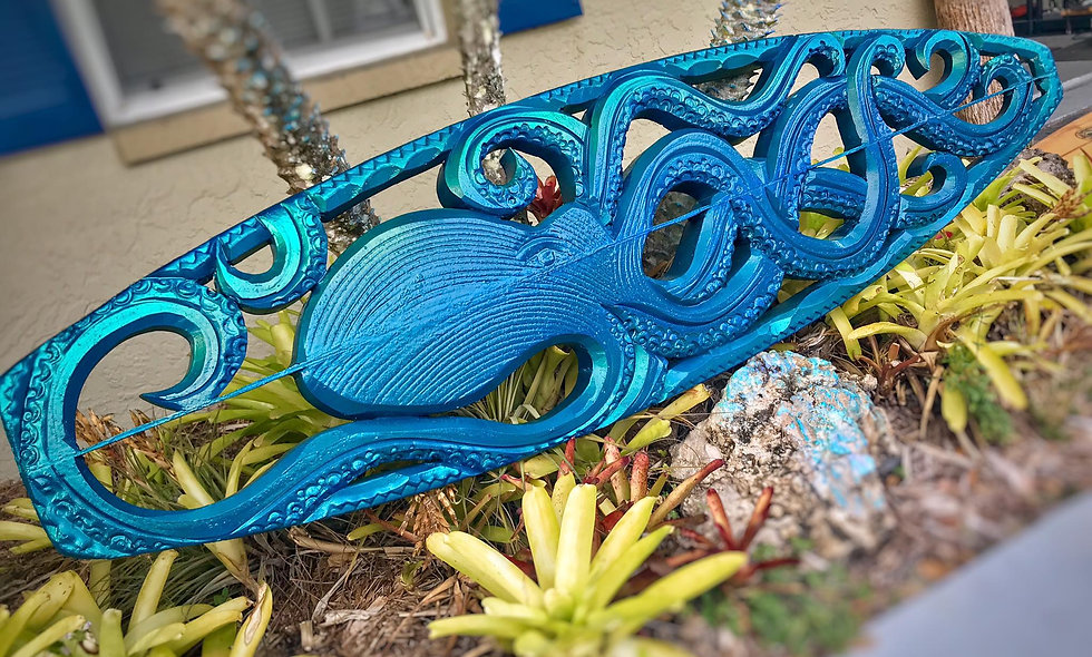 """""""JEWEL OF THE SEA"""" reclaimed surfboard carving"""