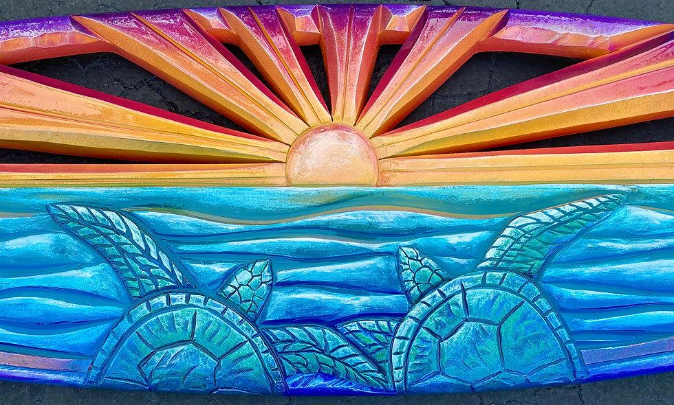 """HONU Sunrise"" reclaimed surfboard carving"