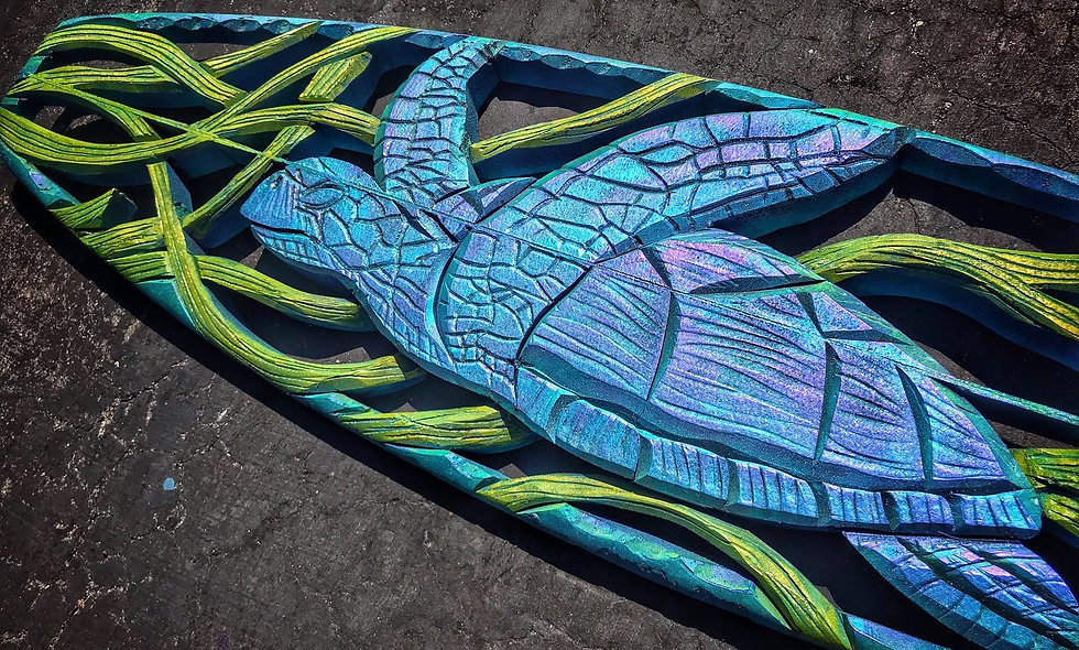 """SOARING THE SEAS"" reclaimed surfboard carving"