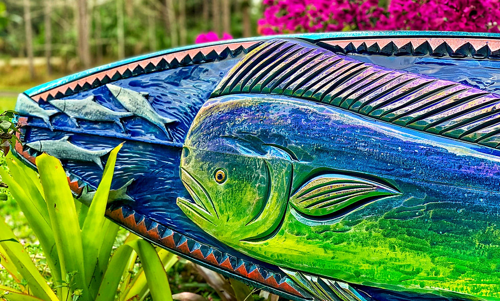 """""""Chasing Bait"""" reclaimed Mahi Dolphin surfboard carving"""