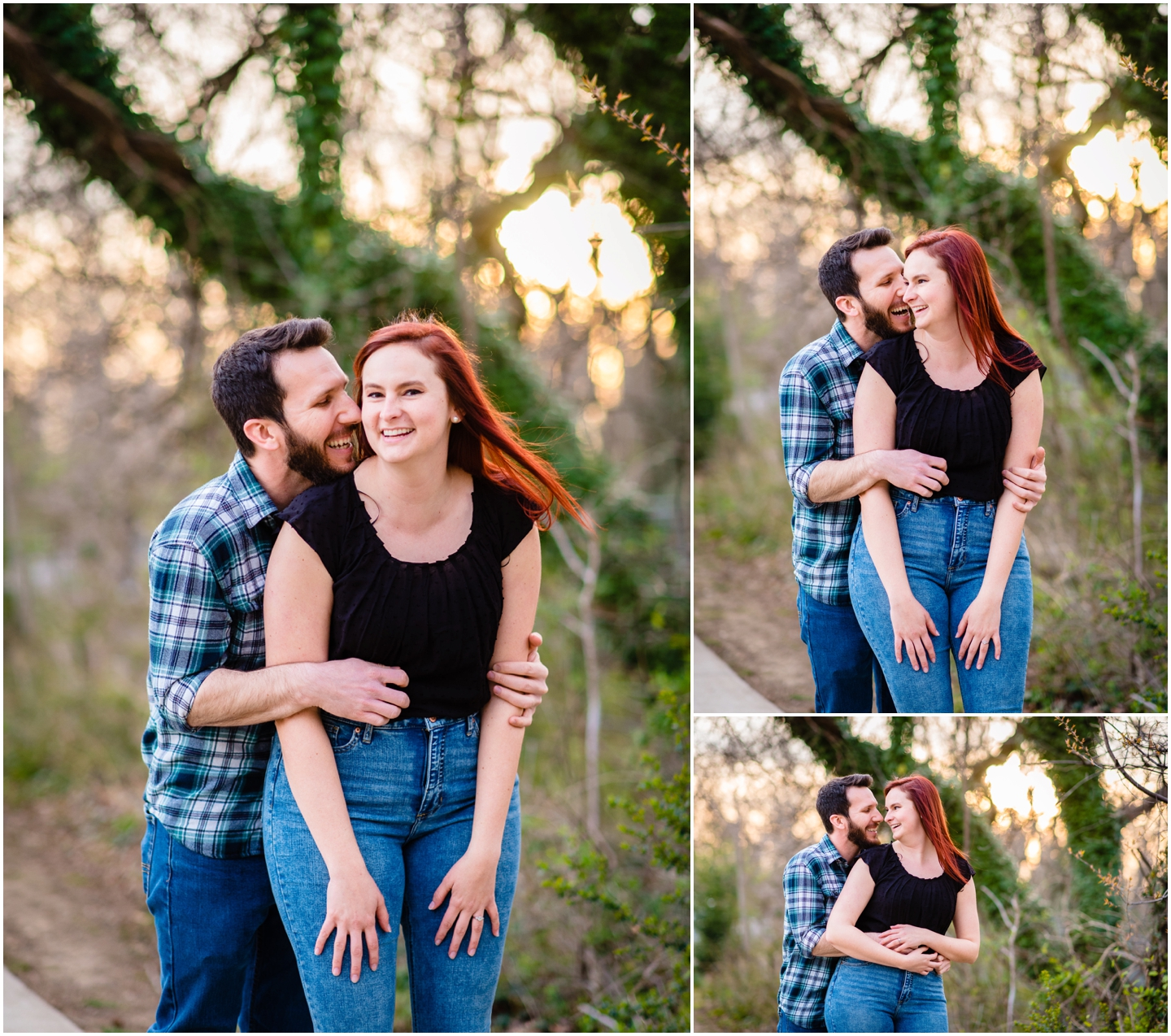 A couple laughing outdoors at floodwall park in richmond virginia during their engagement session
