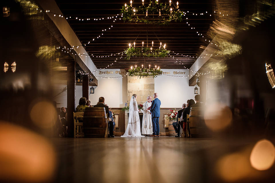 Williamsburg winery wedding ceremony in wessex hall by marek k photography