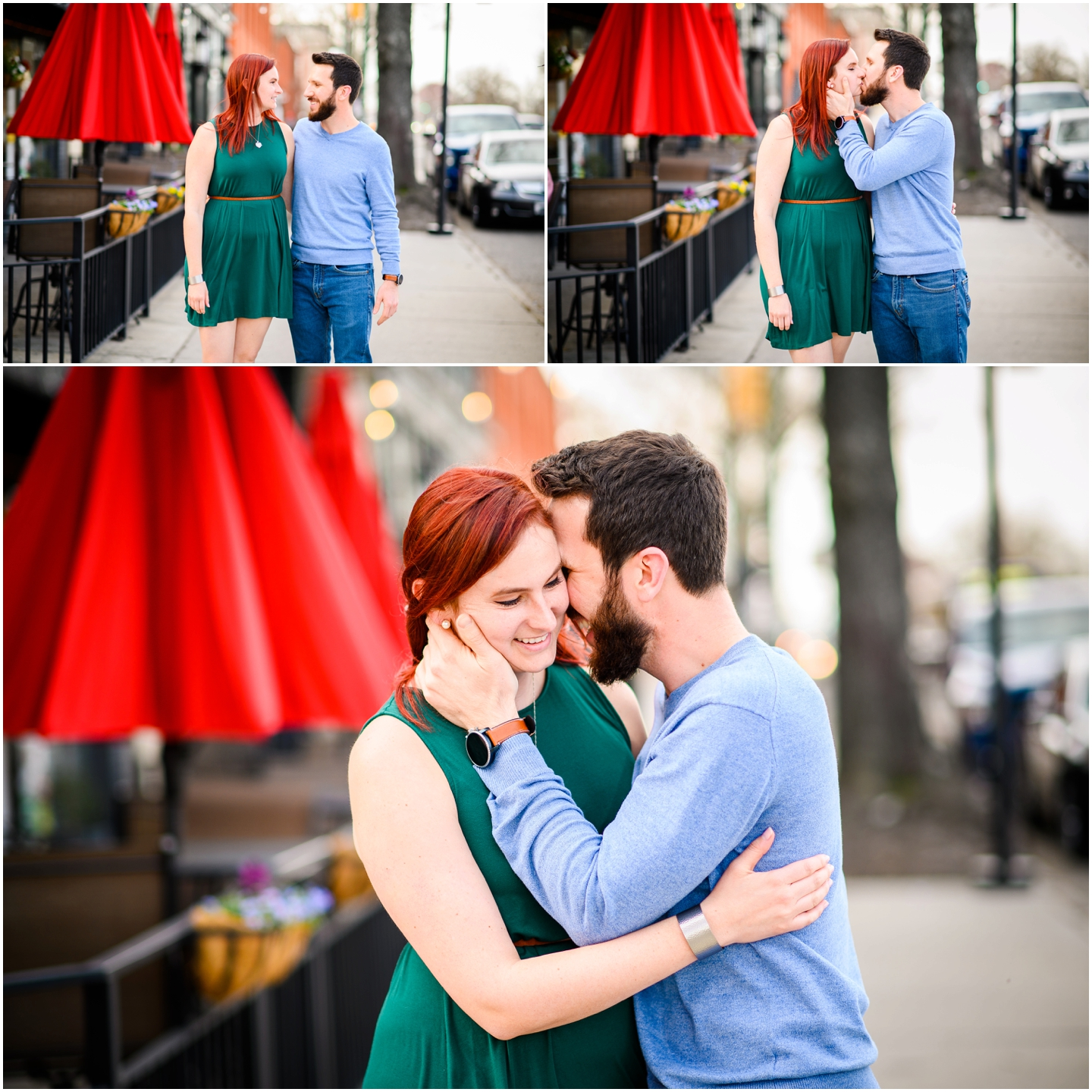 A couple during their engagement session in Richmond outside of the Savory Grain Restaurant