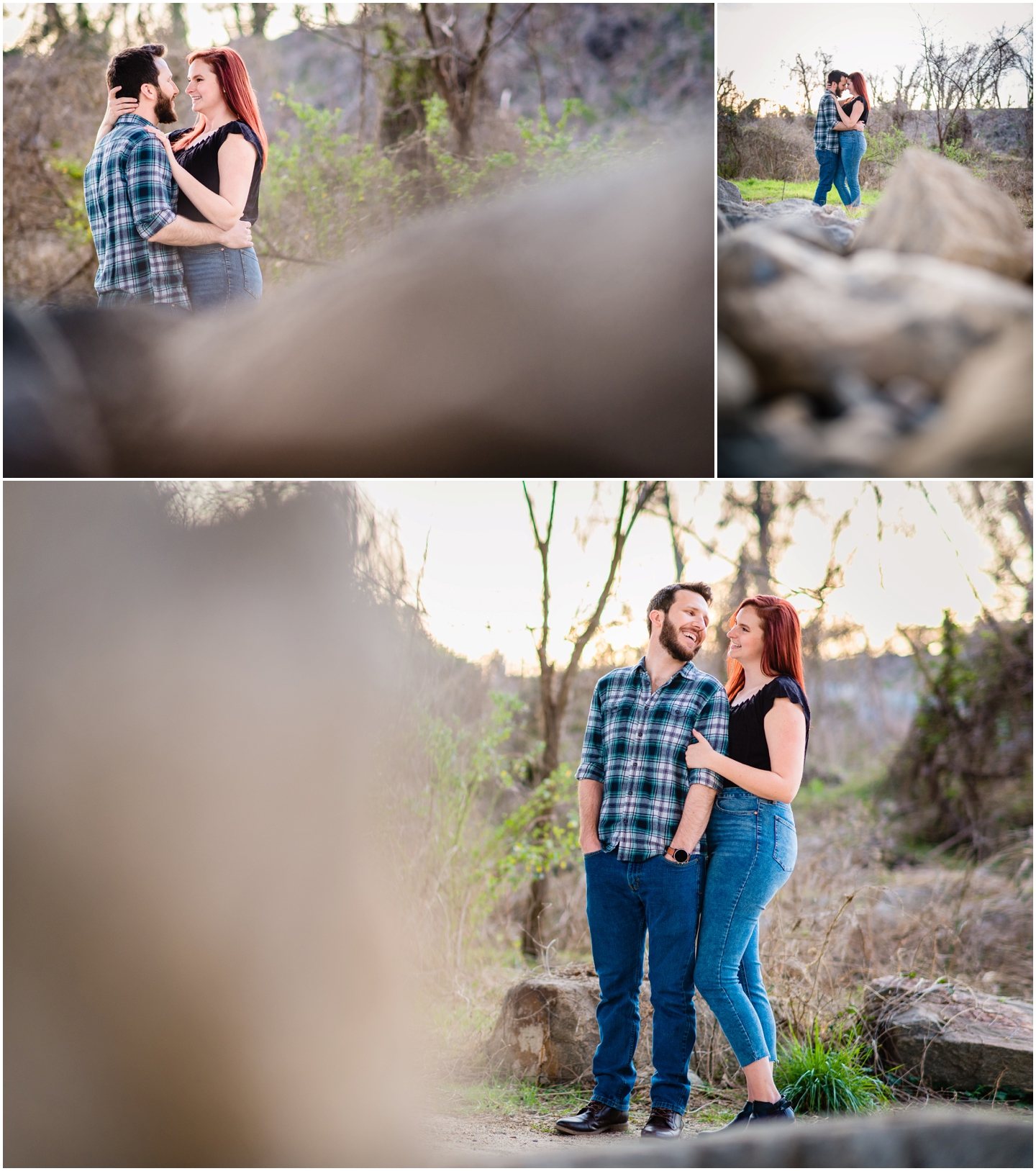 Floodwall park engagement session  couple on rocks