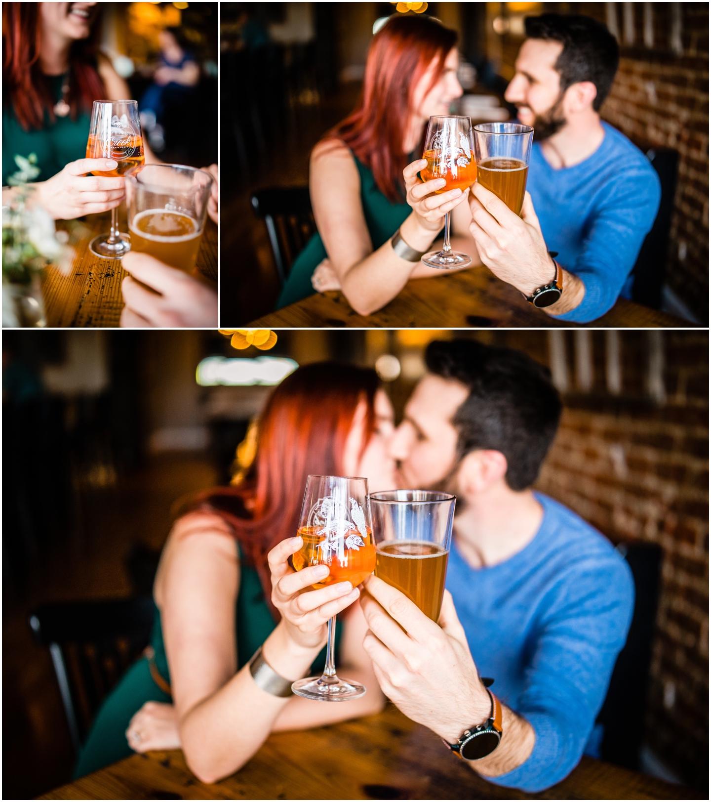 Engagement photos at a restaurant