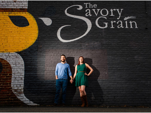 Victoria + Brad Richmond, VA Engagement Session - The Savory Grain and Floodwall Park