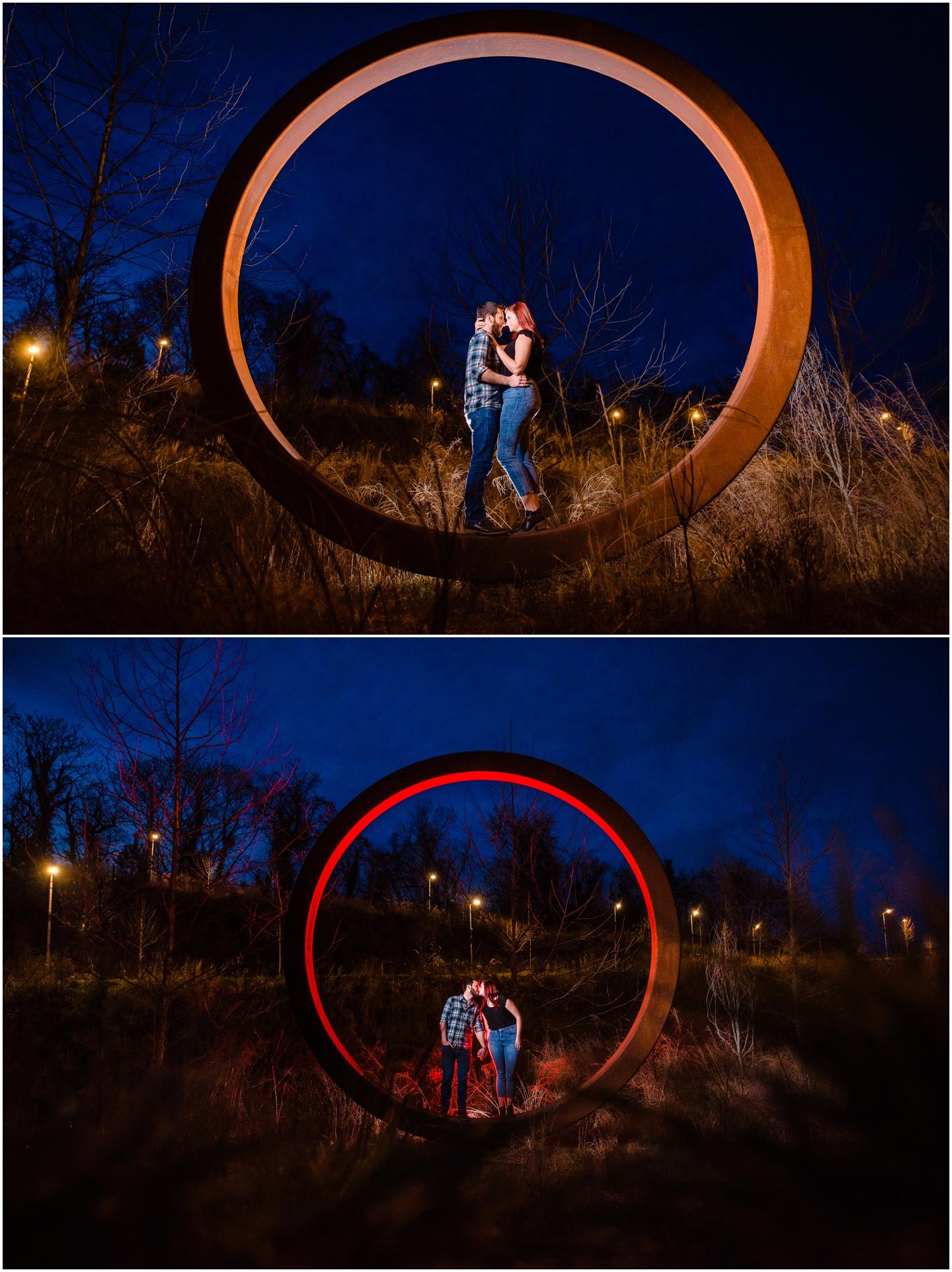 Floodwall park Richmond VA night time engagement photography by Marek K. Photography