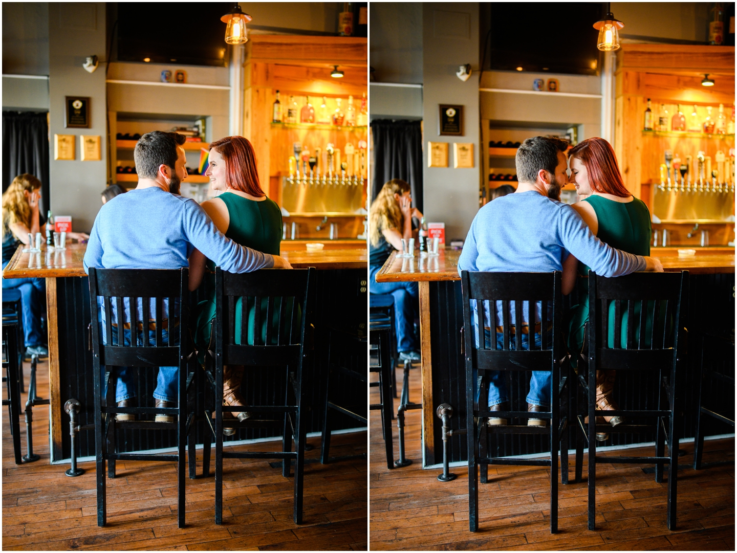A couple sitting at a bar together