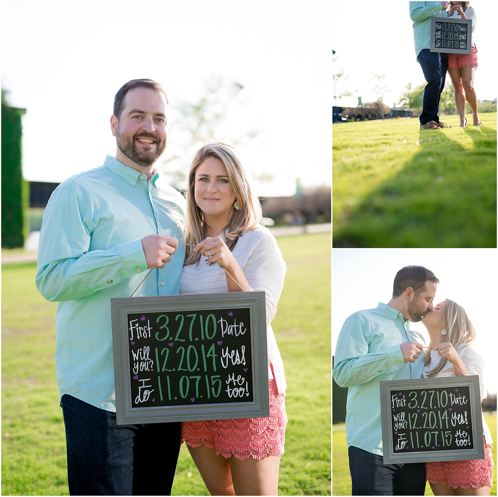 engagement photos with sign