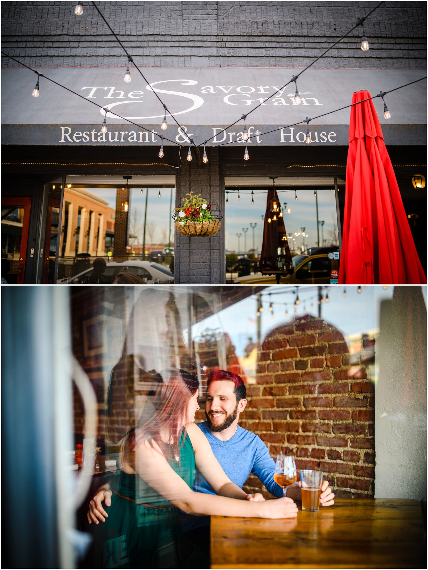 A photo of a couple through the window of a restaurant during their engagement session