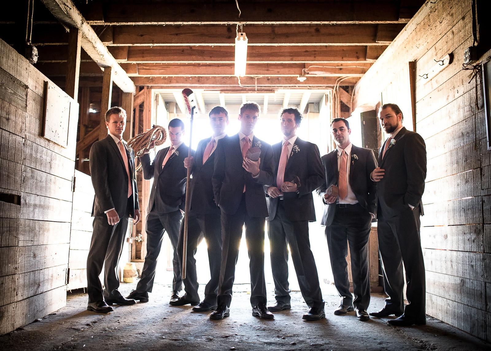 creative groomsmen poses wedding photorapher in richmond va