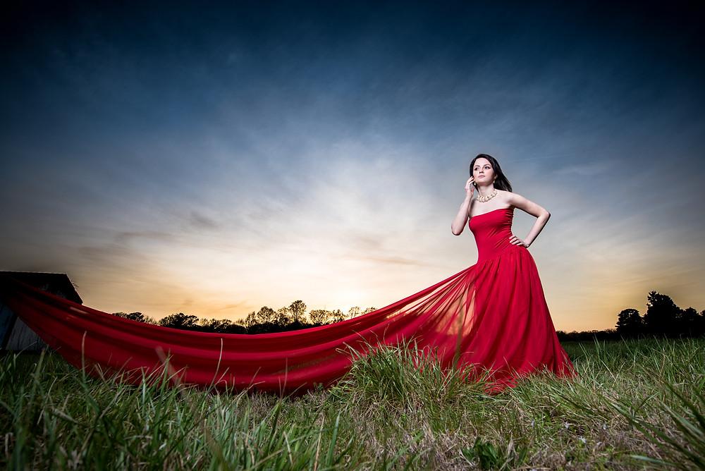 strobist wedding photography sunset shoot girl in long red dress mechanicsville