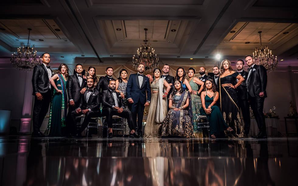 Dramatic wedding party photos