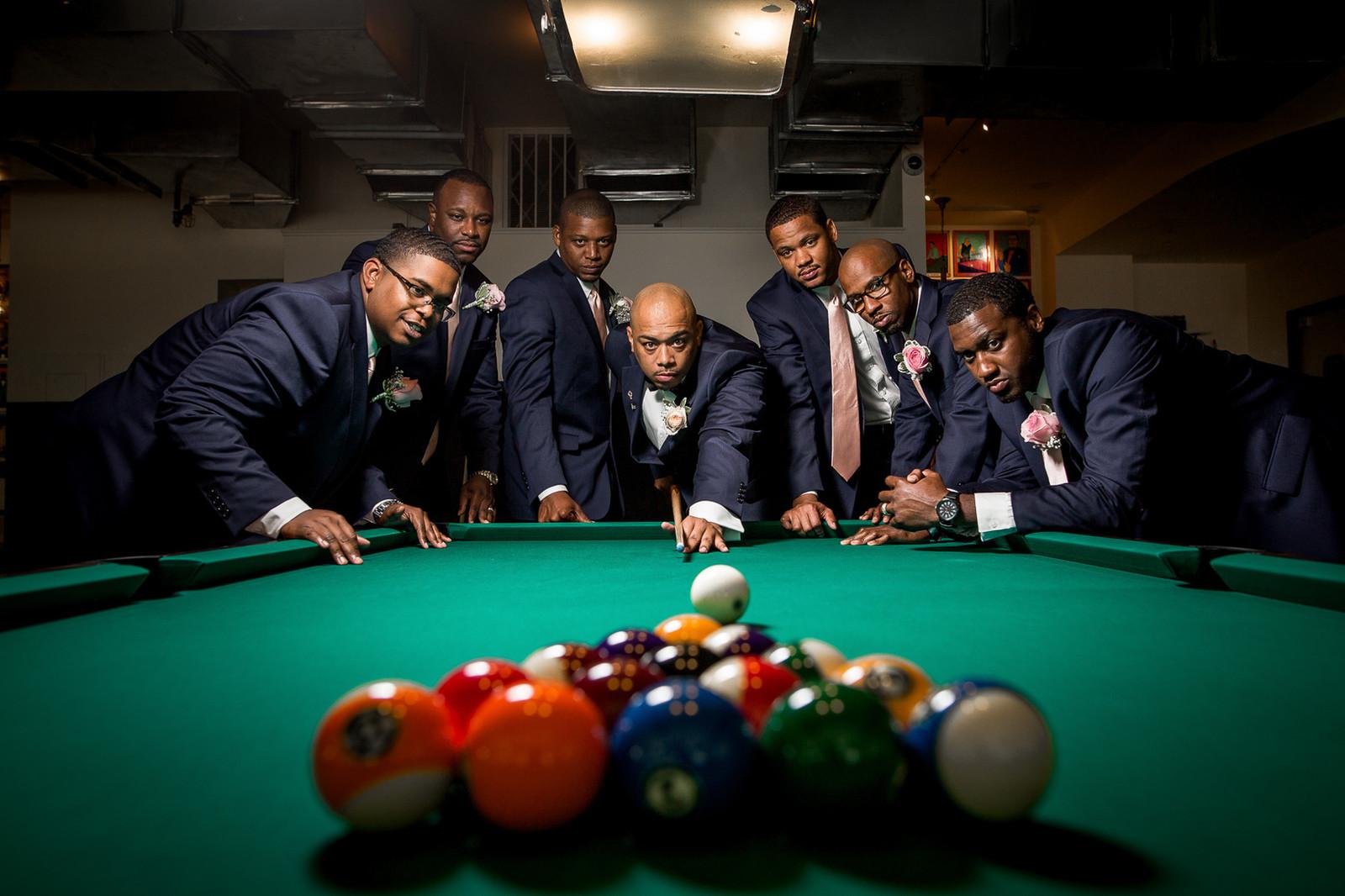 Groomsmen Pool Table Photo | Wedding Photorapher In Richmond VA | Marek K.  Photography | HOME