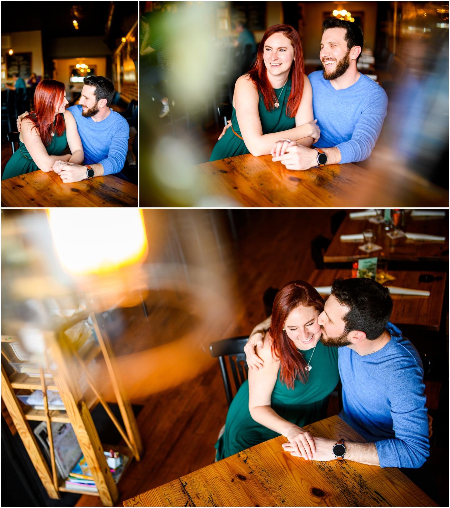 Creative engagement photos at the savory grain in richmond virginia