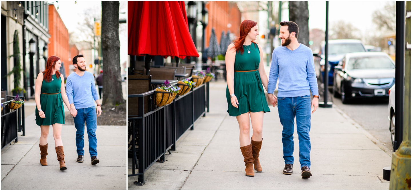 Couple walking during their engagement session in Richmond VA