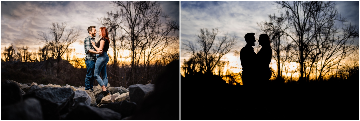 Floodwall park engagement session couple during sunset on rocks