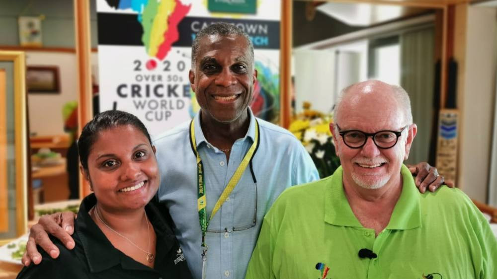 Evergreen Marketing Manager Prieshka Taylor, Michael Holding and Arthur Case