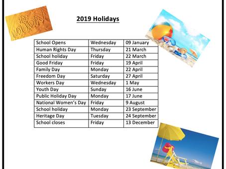 2019 School Closure Dates