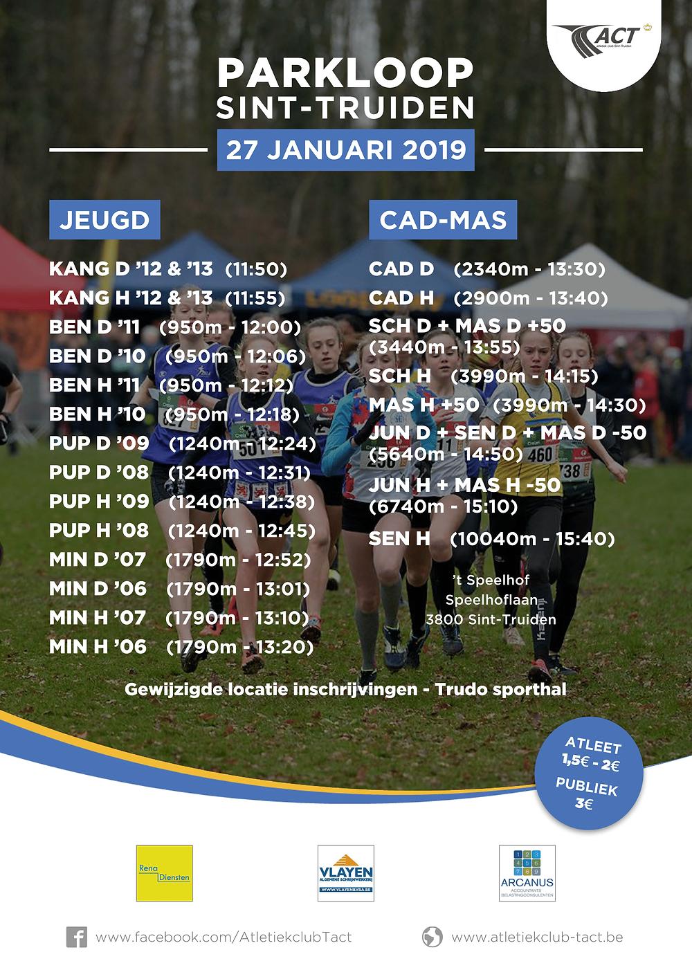 Uurschema LCC Cross TACT Sint-Truiden 27/01/2019 | ADD Kortessem Atletiek