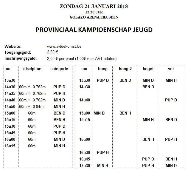 Uurschema PK Indoor Golazo Arena Heusden-Zolder   AVT   ADD Kortessem Atletiek