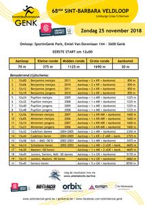 Uurschema LCC Cross Genk 25/11/2018   ADD Kortessem Atletiek