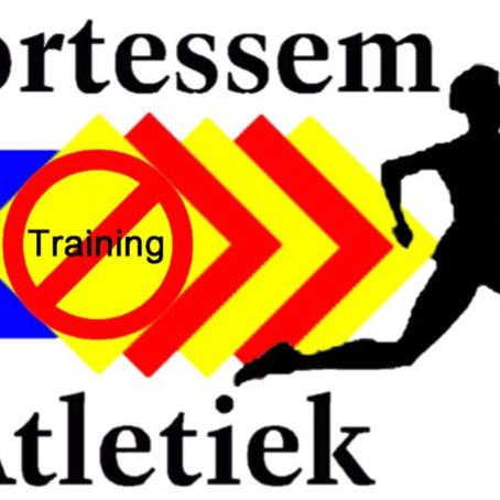 Geen training op maandag 15 augustus