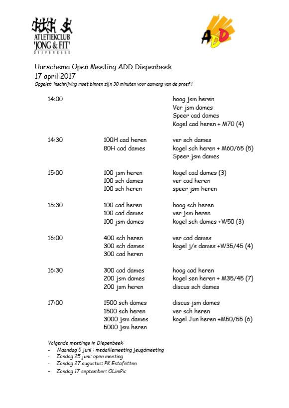 Uurschema open meeting ADD Diepenbeek | Kortessem Atletiek