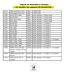 Uurschema LCC BREE AC | ADD Kortessem Atletiek