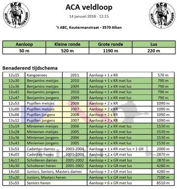 LCC veldloop Alken 14/01/2018