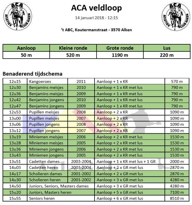 Uurschema LCC ACA Alken | ADD Kortessem Atletiek