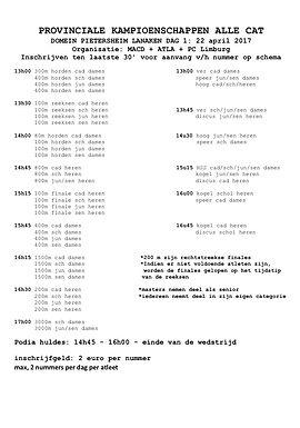 Correctie uurschema PK AC 22 en 23 april op PC website