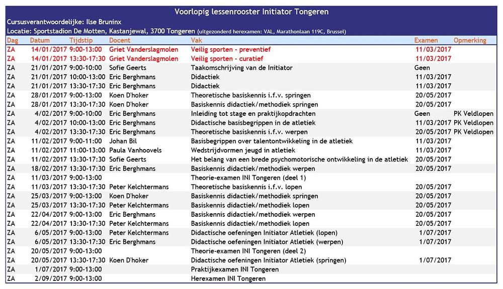 Voorlopige lessenrooster cursus initiator Tongeren | Kortessem Atletiek