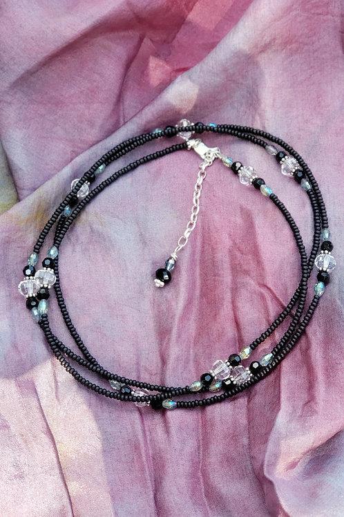 Black Glass and Crystal Waist Beads